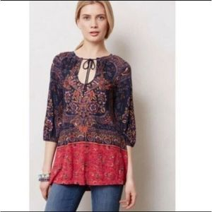 Anthropologie Meadow Rue Beaded Tunic Top M